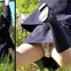 【個人撮影】公園で無邪気に遊ぶ制服JKのパンチラ盗撮!中身はまさかの綿製リラックマ