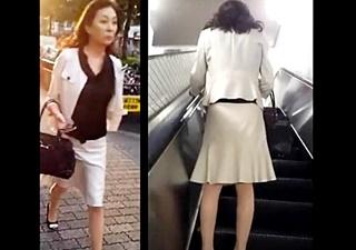 五十路の素人熟女のスーツ姿の保険外交員のパンスト越しパンツがエロいwww
