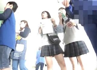 学園祭の臨場感ごと映像にしたJKパンチラがまさに本物!ローアングルから見上げる視点で高校内を散策www