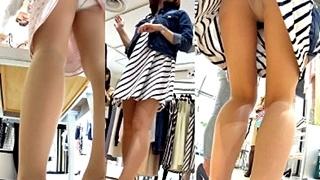 撮影対象はハイレベルな見た目の美女店員3名!働く女性の美脚&パンチラにフルボッキが収まらねぇwww
