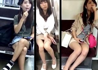 3名の美女たちを電車で対面盗撮!お行儀よく座ってはいるものの三角地帯からパンチラをゲットされている模様!