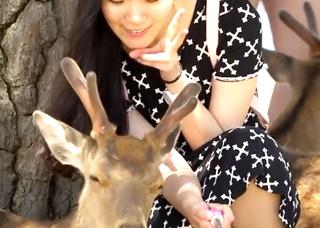 【高画質】初めての鹿公園で自撮りに夢中!SNS映えする写真と引き換えにしゃがみパンチラを鮮明に盗撮されてしまう!