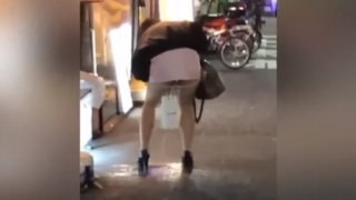 【閲覧注意】深夜の歌舞伎町で泥酔した女性が豪快すぎる立ちション・・・