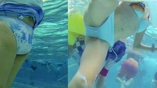 【水中水着追跡】レジャープールでビキニ姿のギャルママたちの無防備な下半身を盗撮