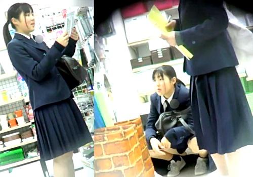 世間知らずな芋っ娘JKちゃん、顔出しで縞々おぱんつを盗撮されまくってしまうwww