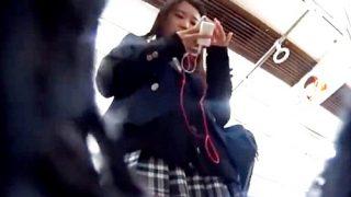 【電車逆さ撮り】学校帰りのブレザーJKちゃんのフロントのお花畑までしっかり観賞パンチラ