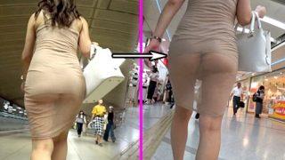 【盗撮動画】シースルーワンピで帰宅中のお姉さん、インナーがずり上がってTバックデカ尻丸見えwww