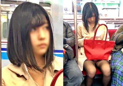 電車でうたた寝する芸能人級(マジで)の美女、動画+静止画で黒スト越しパンチラを盗撮される