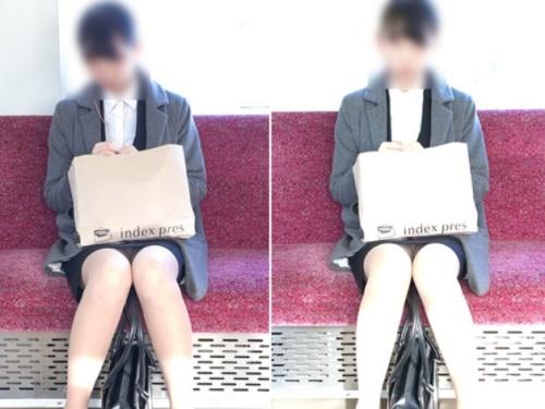 電車でリクスーJDの美脚の隙間からパンチラ盗撮してきた。このスリルがクセになりそうだぜw【感動の最終回】