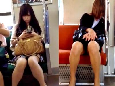 【若い娘&熟睡OL】電車で怪しまれながら対面盗撮してきたから見てくれwww(動画2本)